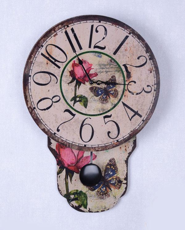 Róże I Motyle Prowansalski Zegar Z Wahadłem
