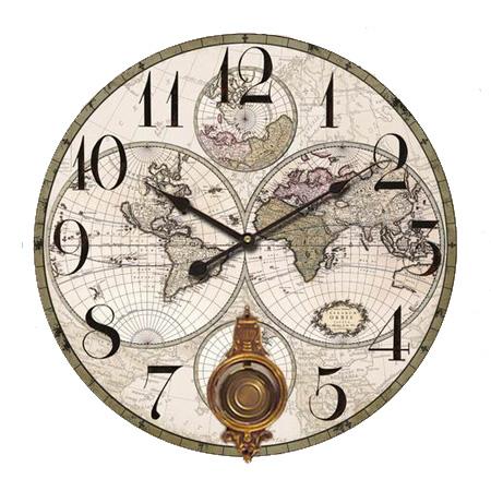 mapa Świata zegar z wahad�em w stylu kolonialnym